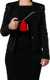 Businesswoman with an oil can Stock Photos