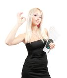 Businesswoman with ok over  white Stock Photos