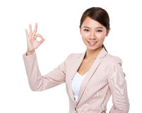 Businesswoman with ok sign Royalty Free Stock Image