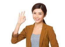 Businesswoman with ok sign Stock Photos