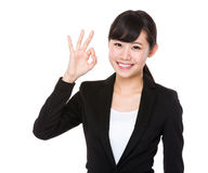 Businesswoman with ok sign Royalty Free Stock Photo