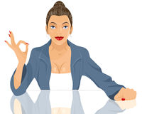 Businesswoman okey gesturing Royalty Free Stock Photography