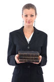 Businesswoman with old books Royalty Free Stock Photography
