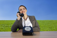 Businesswoman With Old Fashioned Green Values royalty free stock photos