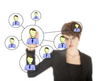 Businesswoman with online friends network isolated Stock Photography