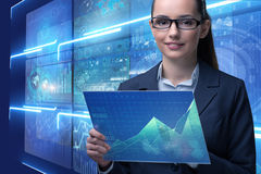 The businesswoman in online stock trading business concept Royalty Free Stock Images