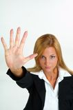 Businesswoman with opan hand stock photo
