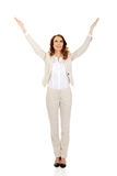 Businesswoman with open hands up. Royalty Free Stock Photography