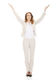 Businesswoman with open hands up. Stock Photography