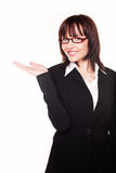 Businesswoman With Open Palm Royalty Free Stock Photography
