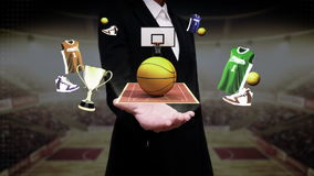 Businesswoman open palm, Around basketball icon, court, goalpost. Around basketball icon, court, goalpost stock illustration