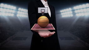 Businesswoman open palm, basketball, court, goalpost. Businesswoman open palm, rotating basketball, court stock illustration