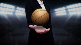 Businesswoman open palm, basketball. Businesswoman open palm, rotating basketball, court stock illustration