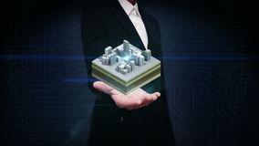 Businesswoman open palm, 3D buildings makes city, buildings surrounded road. illustration view.