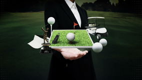 Businesswoman open palm, golf icon, golf bag, field, course, golf cart.golf clubs. stock video footage