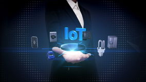 Businesswoman open palm, Iot technology connecting smart home devices, Internet of things concept. Artificial intelligence. IoT technology connecting smart home stock video