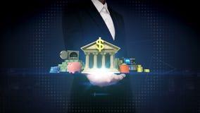 Businesswoman open palm, Management bank account, online offline banking life stock video footage
