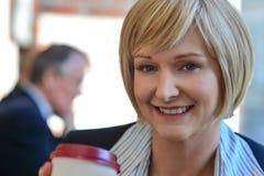 Businesswoman in an open restaurant Stock Photos