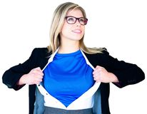 Businesswoman opening her shirt superhero style. On white background Stock Image