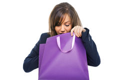 Businesswoman opening present Royalty Free Stock Images