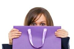 Businesswoman opening present Stock Image