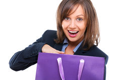 Businesswoman opening present Stock Images