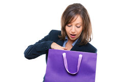 Businesswoman opening present Royalty Free Stock Photos