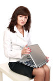 The businesswoman opens laptop Stock Image