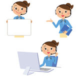 Businesswoman operator Stock Photo