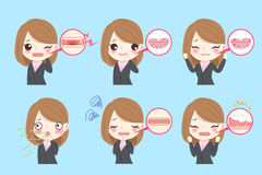 Businesswoman with oral problems. On the blue background Stock Photos
