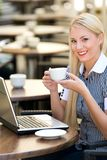 Businesswoman at outdoor cafe Royalty Free Stock Photos