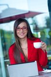 Businesswoman  in outdoors cafe Stock Photography
