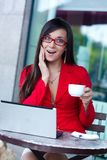 Businesswoman  in outdoors cafe Royalty Free Stock Images