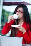 Businesswoman  in outdoors cafe Stock Photo