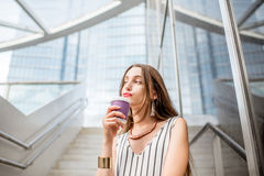 Businesswoman outdoors in the city Royalty Free Stock Images
