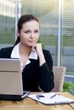Businesswoman outdoors with laptop Royalty Free Stock Photos