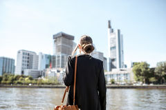 Businesswoman outdoors in the modern city Royalty Free Stock Photography