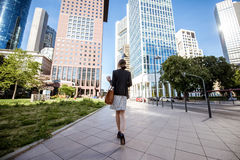 Businesswoman outdoors in the modern city Stock Photos