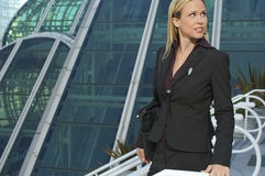 Businesswoman Outside Office Building Stock Photo