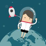 Businesswoman outside a rocket in space. Vector royalty free illustration