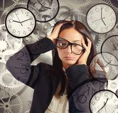 Businesswoman overload appointments Stock Photo