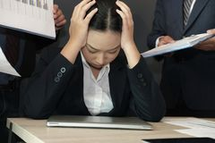 Businesswoman overwhelmed with hard work. overworked woman suffering stress. exhausted secretary burnout. Desperate businesswoman overwhelmed with hard work royalty free stock photo