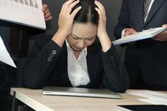 Businesswoman overwhelmed with hard work. overworked woman suffering stress. exhausted secretary burnout. Desperate businesswoman overwhelmed with hard work royalty free stock image