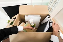 Businesswoman packing personal belonging in box Royalty Free Stock Images
