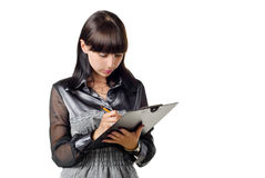 Businesswoman with pad royalty free stock photography