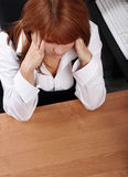 Businesswoman pain. Stress in office stock photography