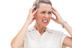 Businesswoman with painful headache Stock Image