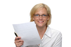 Businesswoman with paper Stock Photos