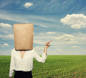 Businesswoman with paper bag Royalty Free Stock Photography