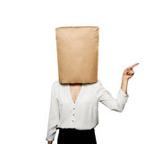 Businesswoman with paper bag Royalty Free Stock Photos